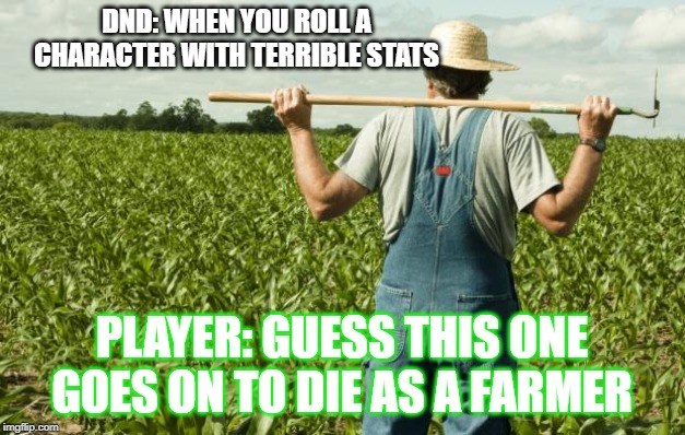 farmer | DND: WHEN YOU ROLL A CHARACTER WITH TERRIBLE STATS PLAYER: GUESS THIS ONE GOES ON TO DIE AS A FARMER | image tagged in farmer,dungeons and dragons,retirement,rip | made w/ Imgflip meme maker