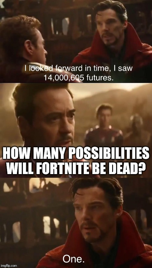 Dr. Strange's Futures | HOW MANY POSSIBILITIES WILL FORTNITE BE DEAD? | image tagged in dr stranges futures | made w/ Imgflip meme maker