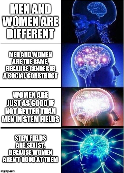 Women in STEM | MEN AND WOMEN ARE DIFFERENT MEN AND WOMEN ARE THE SAME, BECAUSE GENDER IS A SOCIAL CONSTRUCT WOMEN ARE JUST AS GOOD IF NOT BETTER THAN MEN I | image tagged in memes,expanding brain,feminism,stem,science,math | made w/ Imgflip meme maker