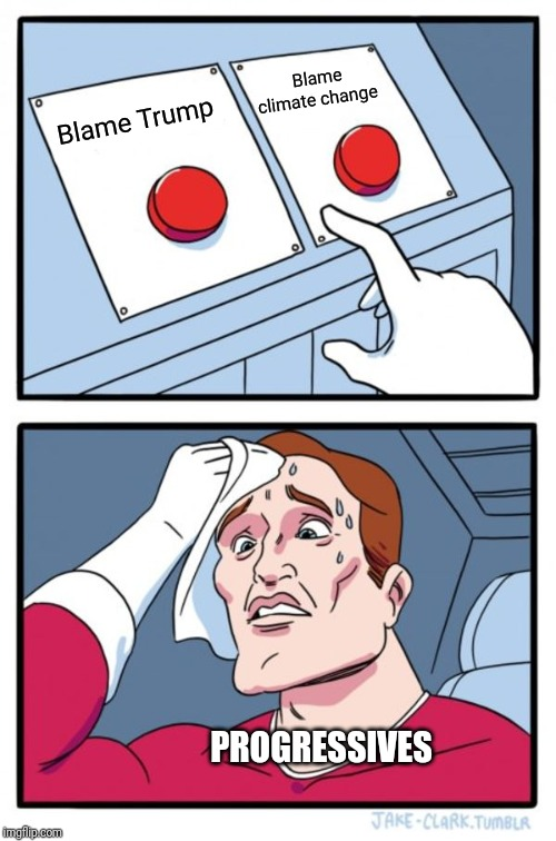 Two Buttons |  Blame climate change; Blame Trump; PROGRESSIVES | image tagged in memes,two buttons | made w/ Imgflip meme maker