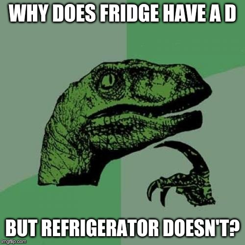 Philosoraptor Meme | WHY DOES FRIDGE HAVE A D BUT REFRIGERATOR DOESN'T? | image tagged in memes,philosoraptor | made w/ Imgflip meme maker