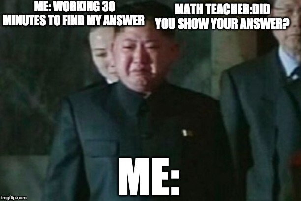 Kim Jong Un Sad |  ME: WORKING 30 MINUTES TO FIND MY ANSWER; MATH TEACHER:DID YOU SHOW YOUR ANSWER? ME: | image tagged in memes,kim jong un sad | made w/ Imgflip meme maker