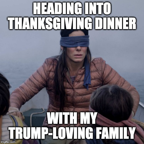 Bird Box | HEADING INTO THANKSGIVING DINNER WITH MY TRUMP-LOVING FAMILY | image tagged in memes,bird box | made w/ Imgflip meme maker