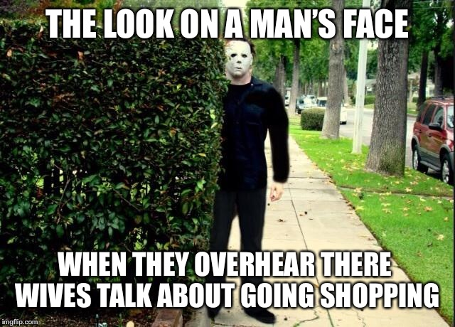 Michael Myers Bush Stalking | THE LOOK ON A MAN'S FACE WHEN THEY OVERHEAR THERE  WIVES TALK ABOUT GOING SHOPPING | image tagged in michael myers bush stalking | made w/ Imgflip meme maker