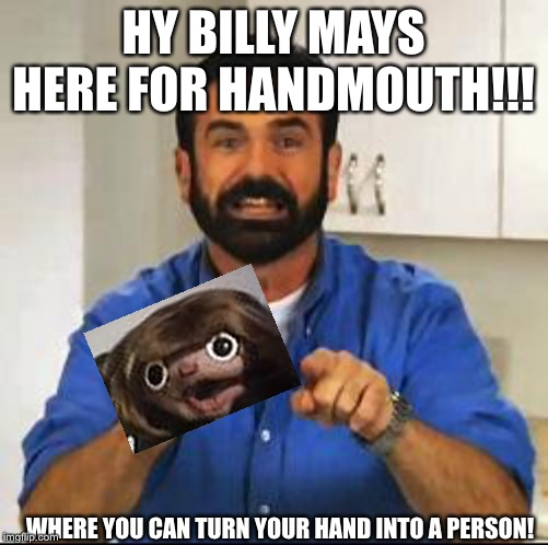 Billy Mays | HY BILLY MAYS HERE FOR HANDMOUTH!!! WHERE YOU CAN TURN YOUR HAND INTO A PERSON! | image tagged in billy mays | made w/ Imgflip meme maker