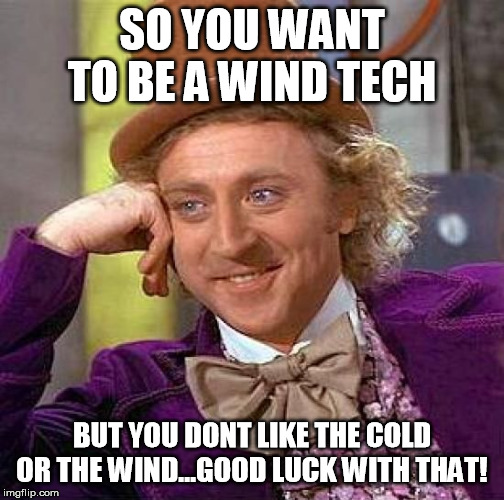 Creepy Condescending Wonka Meme | SO YOU WANT TO BE A WIND TECH BUT YOU DONT LIKE THE COLD OR THE WIND...GOOD LUCK WITH THAT! | image tagged in memes,creepy condescending wonka | made w/ Imgflip meme maker