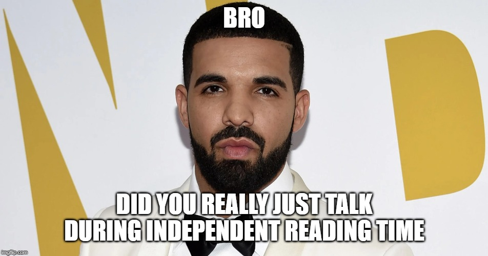 Get noob |  BRO; DID YOU REALLY JUST TALK DURING INDEPENDENT READING TIME | image tagged in drake,shitpost,during,independent,reading,time | made w/ Imgflip meme maker
