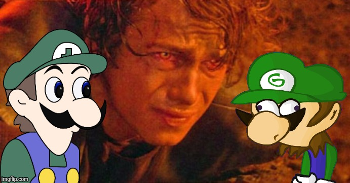 Weegee and Guiyii stare at Anakin Skywalker (HALLOWEEN SPECIAL) | image tagged in memes,funny,mario,star wars,anakin skywalker,weegee | made w/ Imgflip meme maker