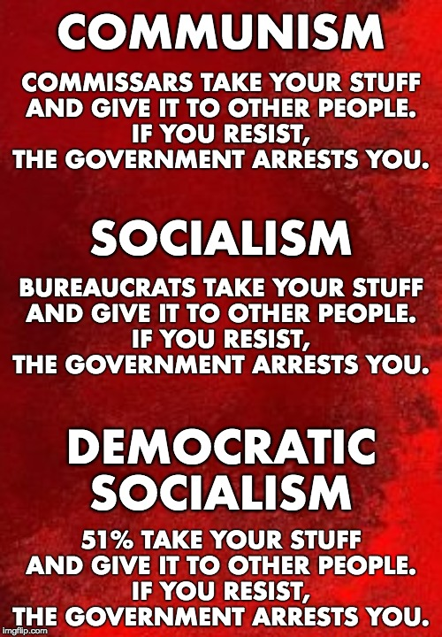 Know the difference. |  COMMUNISM; COMMISSARS TAKE YOUR STUFF AND GIVE IT TO OTHER PEOPLE. IF YOU RESIST, THE GOVERNMENT ARRESTS YOU. SOCIALISM; BUREAUCRATS TAKE YOUR STUFF AND GIVE IT TO OTHER PEOPLE. IF YOU RESIST, THE GOVERNMENT ARRESTS YOU. DEMOCRATIC SOCIALISM; 51% TAKE YOUR STUFF AND GIVE IT TO OTHER PEOPLE. IF YOU RESIST, THE GOVERNMENT ARRESTS YOU. | image tagged in communism,socialism,democratic socialism | made w/ Imgflip meme maker