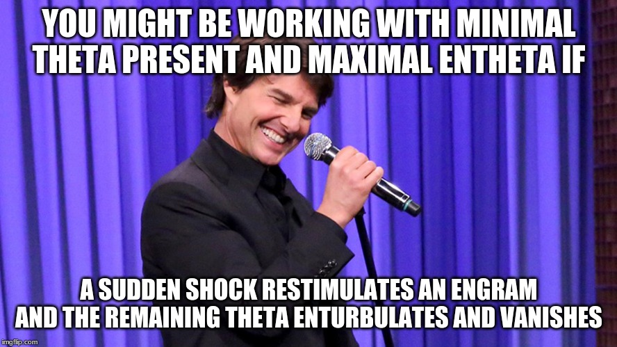 Scientology Standup |  YOU MIGHT BE WORKING WITH MINIMAL THETA PRESENT AND MAXIMAL ENTHETA IF; A SUDDEN SHOCK RESTIMULATES AN ENGRAM AND THE REMAINING THETA ENTURBULATES AND VANISHES | image tagged in scientology standup | made w/ Imgflip meme maker
