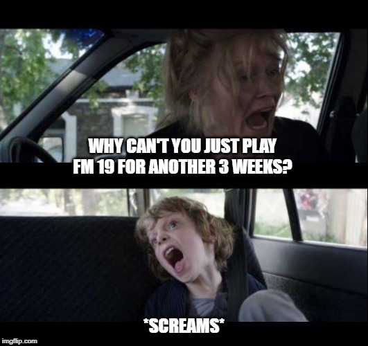 WHY CAN'T YOU JUST PLAY FM 19 FOR ANOTHER 3 WEEKS? *SCREAMS*   image tagged in babadook scream no subtitles   made w/ Imgflip meme maker