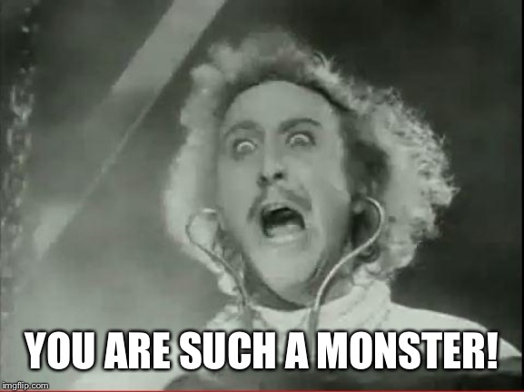 Young Frankenstein | YOU ARE SUCH A MONSTER! | image tagged in young frankenstein | made w/ Imgflip meme maker