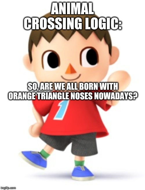 ANIMAL CROSSING LOGIC: SO, ARE WE ALL BORN WITH ORANGE TRIANGLE NOSES NOWADAYS? | image tagged in animal crossing logic | made w/ Imgflip meme maker