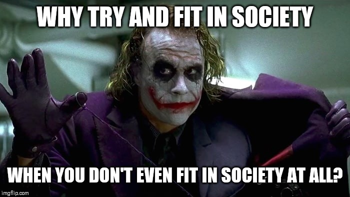 Good point |  WHY TRY AND FIT IN SOCIETY; WHEN YOU DON'T EVEN FIT IN SOCIETY AT ALL? | image tagged in we live in a society,memes | made w/ Imgflip meme maker