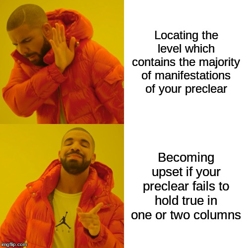 Drake Hotline Bling |  Locating the level which contains the majority of manifestations of your preclear; Becoming upset if your preclear fails to hold true in one or two columns | image tagged in memes,drake hotline bling | made w/ Imgflip meme maker