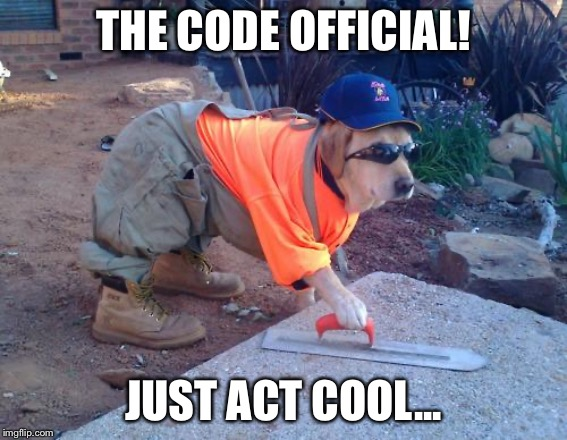 Construction dog | THE CODE OFFICIAL! JUST ACT COOL... | image tagged in construction dog | made w/ Imgflip meme maker