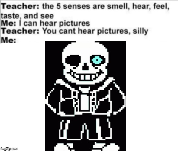You can't hear pictures | image tagged in you can't hear pictures,you can hear this image,pictures you can hear,meme,funny,sans meme | made w/ Imgflip meme maker