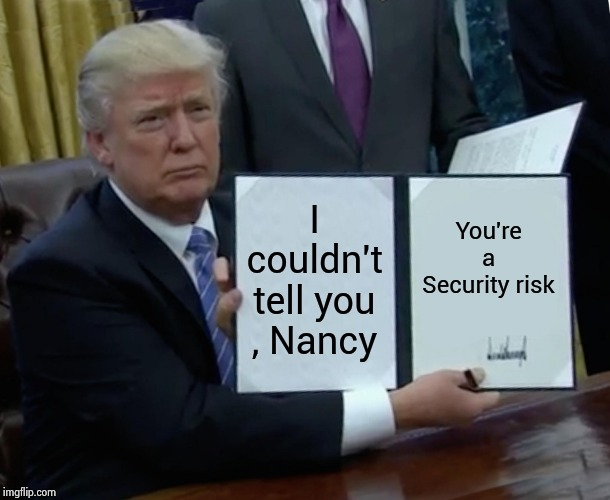 We couldn't let the Media warn them |  I couldn't tell you , Nancy; You're a Security risk | image tagged in memes,trump bill signing,national security,congress,leaks,biased media | made w/ Imgflip meme maker