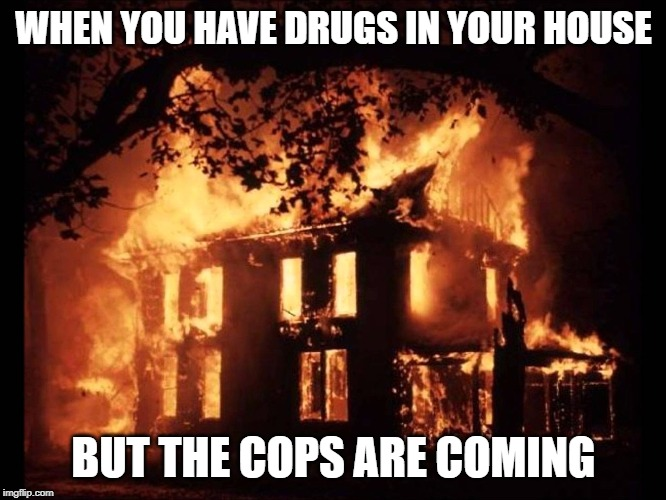 House On Fire | WHEN YOU HAVE DRUGS IN YOUR HOUSE BUT THE COPS ARE COMING | image tagged in house on fire | made w/ Imgflip meme maker