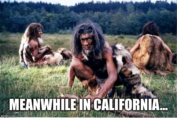 caveman |  MEANWHILE IN CALIFORNIA... | image tagged in caveman | made w/ Imgflip meme maker