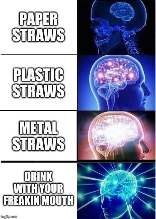 Expanding Brain | PAPER STRAWS PLASTIC STRAWS METAL STRAWS DRINK WITH YOUR FREAKIN MOUTH | image tagged in memes,expanding brain | made w/ Imgflip meme maker