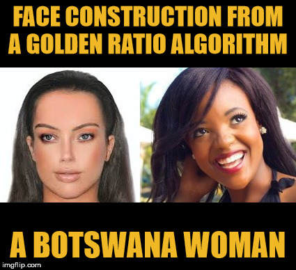 Every person alive today descended from a woman who lived in modern-day Botswana about 200,000 years ago, a new study finds. |  FACE CONSTRUCTION FROM A GOLDEN RATIO ALGORITHM; A BOTSWANA WOMAN | image tagged in the golden ratio,face,female,botwana,people,history | made w/ Imgflip meme maker