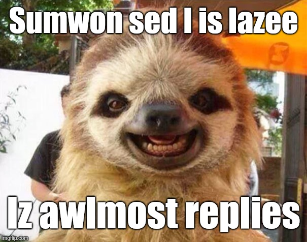 Sumwon sed I is lazee Iz awlmost replies | image tagged in thank you | made w/ Imgflip meme maker