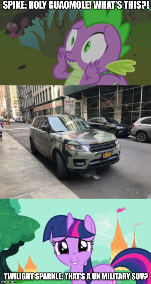 Range Rover the UK military vehicle | SPIKE: HOLY GUAOMOLE! WHAT'S THIS?! TWILIGHT SPARKLE: THAT'S A UK MILITARY SUV? | image tagged in range rover military vehicle,suv,mlp fim,twilight sparkle,spike | made w/ Imgflip meme maker