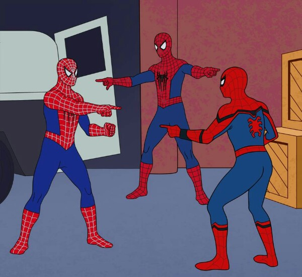 3 Spidermen Pointing at each other Blank Template - Imgflip