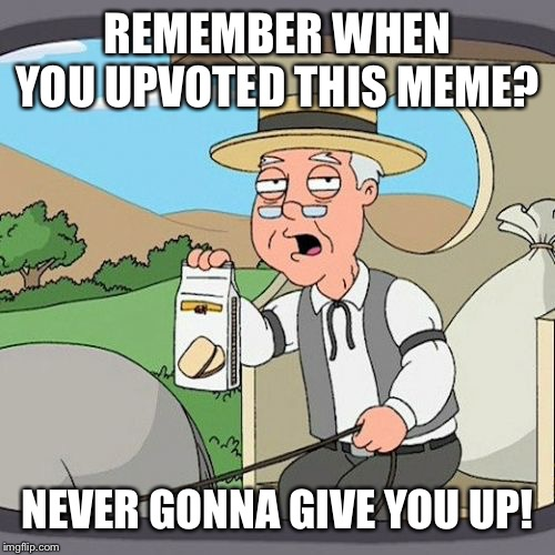 Pepperidge Farm Remembers Meme | REMEMBER WHEN YOU UPVOTED THIS MEME? NEVER GONNA GIVE YOU UP! | image tagged in memes,pepperidge farm remembers | made w/ Imgflip meme maker
