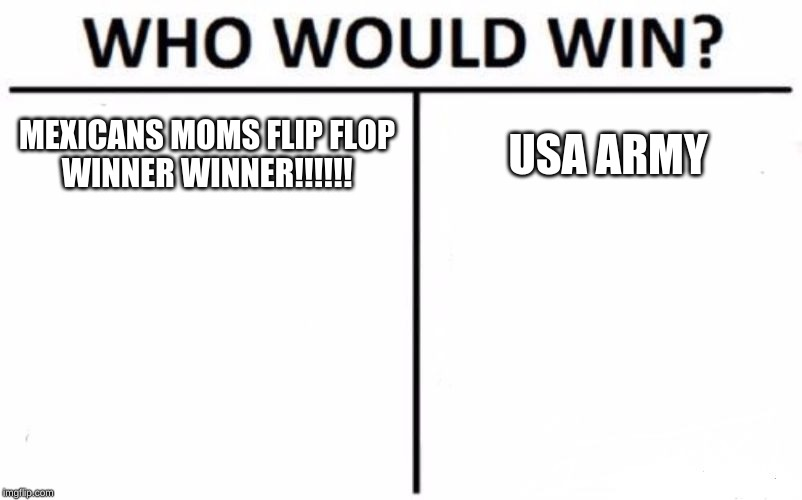 Who Would Win? Meme | MEXICANS MOMS FLIP FLOP   WINNER WINNER!!!!!! USA ARMY | image tagged in memes,who would win | made w/ Imgflip meme maker