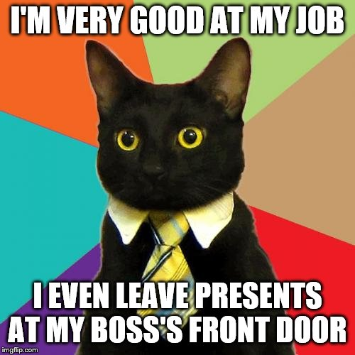 Though he still refuses to give me a raise. | I'M VERY GOOD AT MY JOB I EVEN LEAVE PRESENTS AT MY BOSS'S FRONT DOOR | image tagged in memes,business cat | made w/ Imgflip meme maker