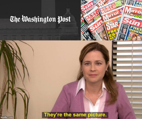WASHINGTON POST IS NOW A TABLOID PAPER | image tagged in washington post,spot the difference,fake news | made w/ Imgflip meme maker