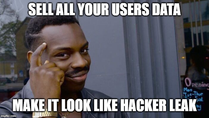 Roll Safe Think About It Meme |  SELL ALL YOUR USERS DATA; MAKE IT LOOK LIKE HACKER LEAK | image tagged in memes,roll safe think about it | made w/ Imgflip meme maker