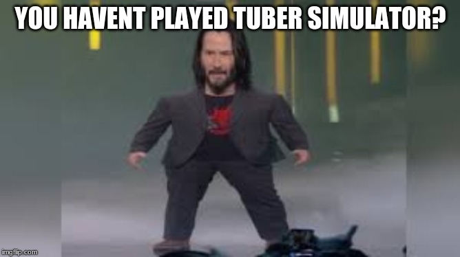YOU HAVENT PLAYED TUBER SIMULATOR? | image tagged in keanu reeves | made w/ Imgflip meme maker