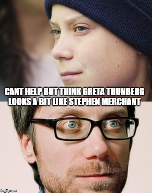 Greta Merchant | CANT HELP BUT THINK GRETA THUNBERG LOOKS A BIT LIKE STEPHEN MERCHANT | image tagged in funny memes,greta thunberg | made w/ Imgflip meme maker