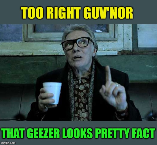 Old Cockney Geezer | TOO RIGHT GUV'NOR THAT GEEZER LOOKS PRETTY FACT | image tagged in old cockney geezer | made w/ Imgflip meme maker