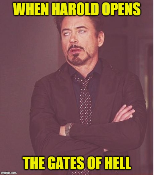 Face You Make Robert Downey Jr Meme | WHEN HAROLD OPENS THE GATES OF HELL | image tagged in memes,face you make robert downey jr | made w/ Imgflip meme maker