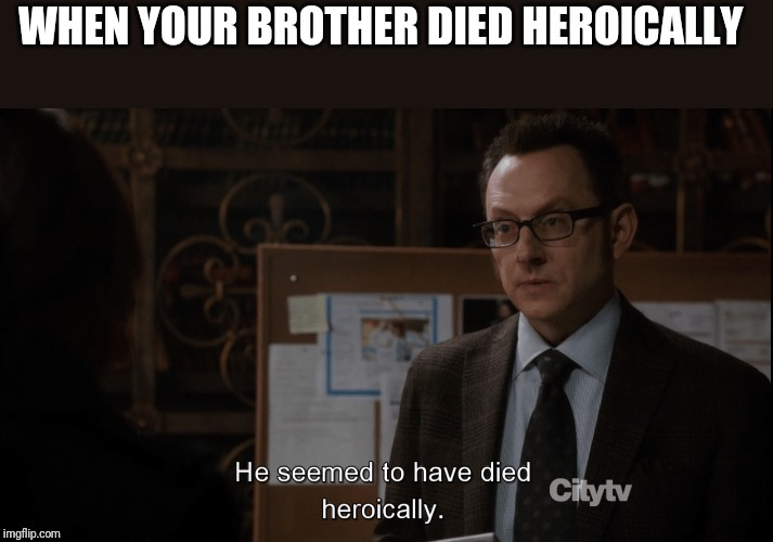 He seemed to have died heroically | WHEN YOUR BROTHER DIED HEROICALLY | image tagged in he seemed to have died heroically | made w/ Imgflip meme maker