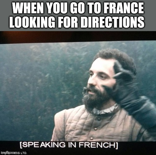 Speaking in French | WHEN YOU GO TO FRANCE LOOKING FOR DIRECTIONS | image tagged in speaking in french | made w/ Imgflip meme maker