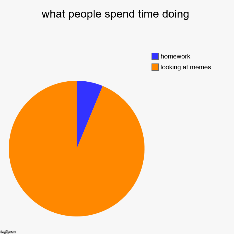 what people spend time doing | looking at memes, homework | image tagged in charts,pie charts | made w/ Imgflip chart maker