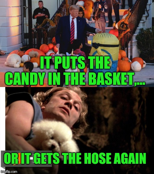 He's not a table ya moron | IT PUTS THE CANDY IN THE BASKET,... OR IT GETS THE HOSE AGAIN | image tagged in dump trump,sewmyeyesshut,halloween,candy,hur dee dur dee derp | made w/ Imgflip meme maker