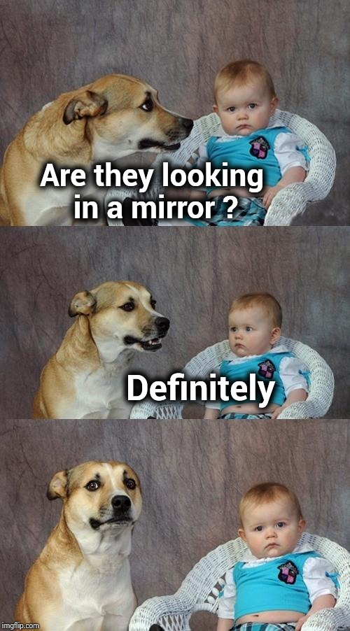 Dad Joke Dog Meme | Are they looking  in a mirror ? Definitely | image tagged in memes,dad joke dog | made w/ Imgflip meme maker