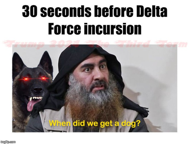 Footage Released From Syria! | image tagged in baghdadi,syria,good boi,funny,delta force,funny memes | made w/ Imgflip meme maker