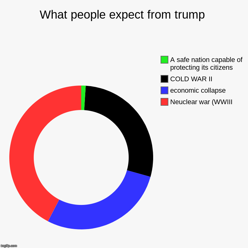 What people expect from trump | Neuclear war (WWIII, economic collapse, COLD WAR II, A safe nation capable of protecting its citizens | image tagged in charts,donut charts | made w/ Imgflip chart maker