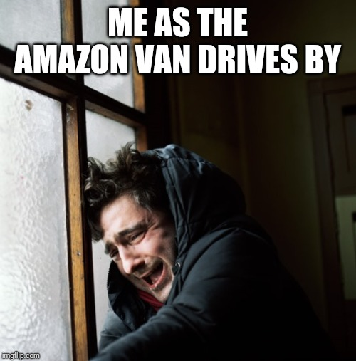 Let down |  ME AS THE AMAZON VAN DRIVES BY | image tagged in amazon,funny,sad | made w/ Imgflip meme maker