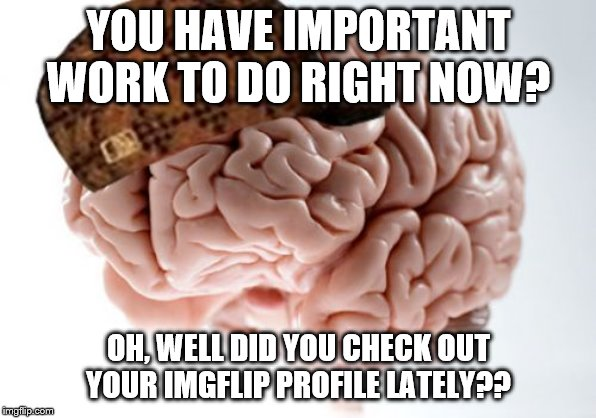 Scumbag Brain | YOU HAVE IMPORTANT WORK TO DO RIGHT NOW? OH, WELL DID YOU CHECK OUT YOUR IMGFLIP PROFILE LATELY?? | image tagged in memes,scumbag brain | made w/ Imgflip meme maker