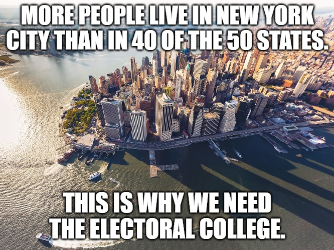City of New York | MORE PEOPLE LIVE IN NEW YORK CITY THAN IN 40 OF THE 50 STATES. THIS IS WHY WE NEED THE ELECTORAL COLLEGE. | image tagged in city of new york | made w/ Imgflip meme maker
