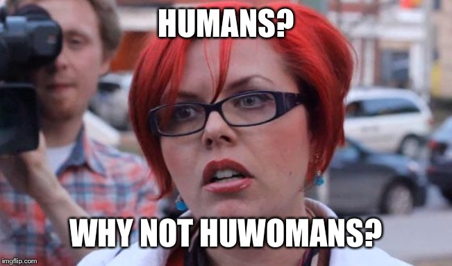 Angry Feminist | HUMANS? WHY NOT HUWOMANS? | image tagged in angry feminist | made w/ Imgflip meme maker