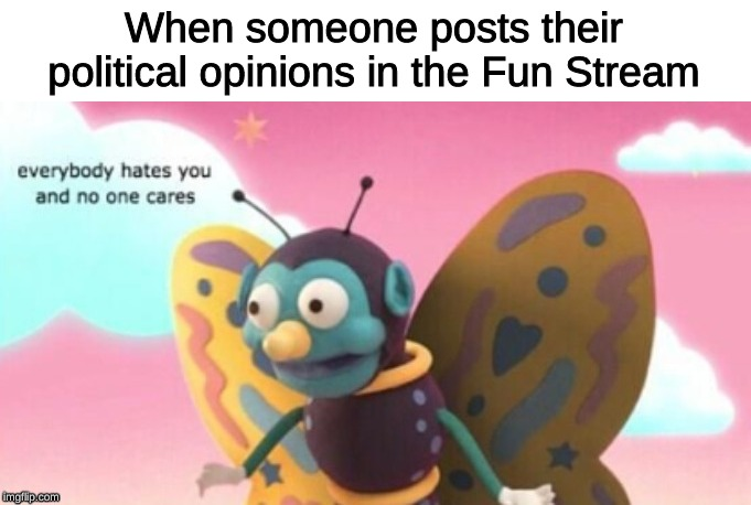 the politics stream exists for a reason | When someone posts their political opinions in the Fun Stream | image tagged in memes,dhmis,politics,fun,streams | made w/ Imgflip meme maker